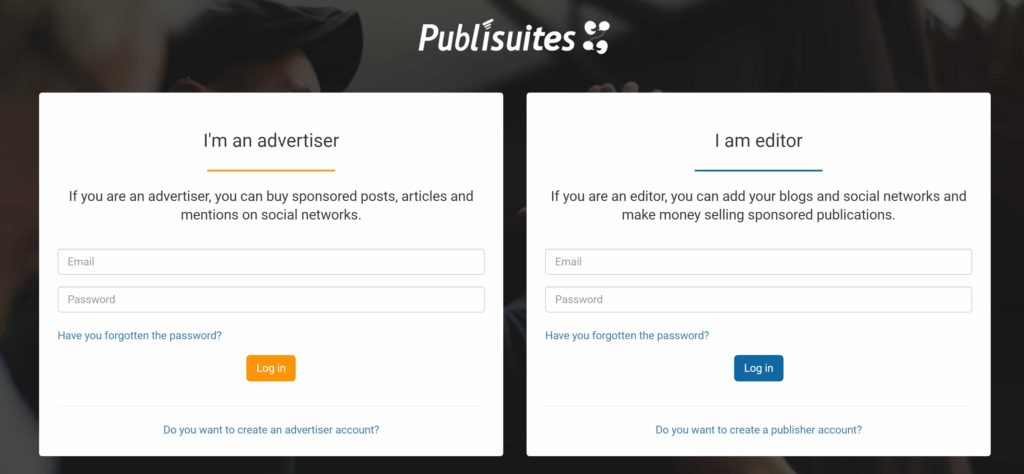 publisuites - sign up